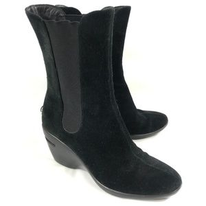 Cole Haan Boots Black Suede Leather Pull On Sz 6.5